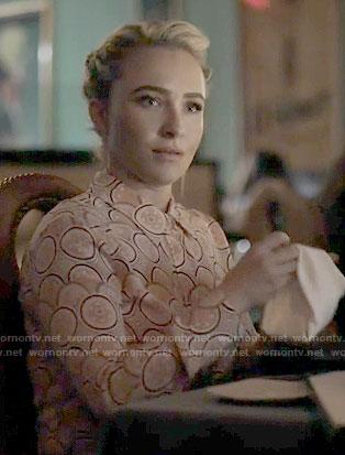 Juliette's orange print blouse on Nashville
