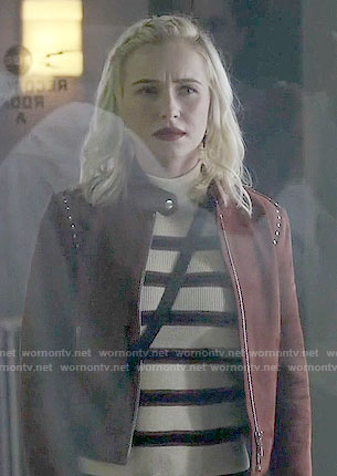 Juliette's striped sweater and studded suede jacket on Nashville