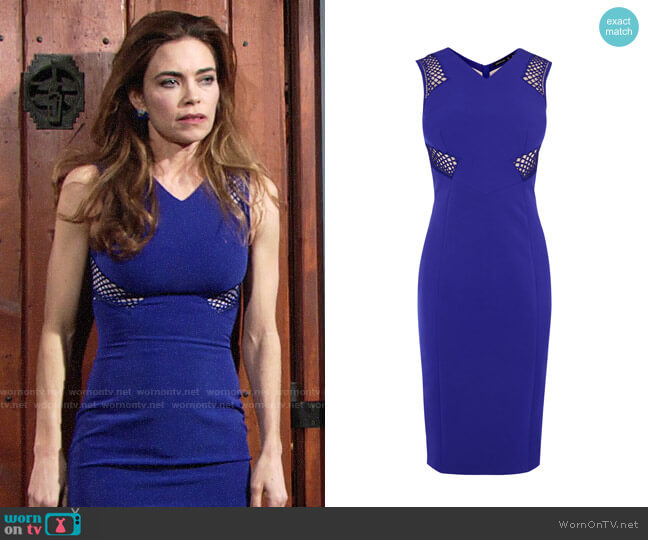 Karen Millen Lace Panel Pencil Dress worn by Amelia Heinle on The Young & the Restless