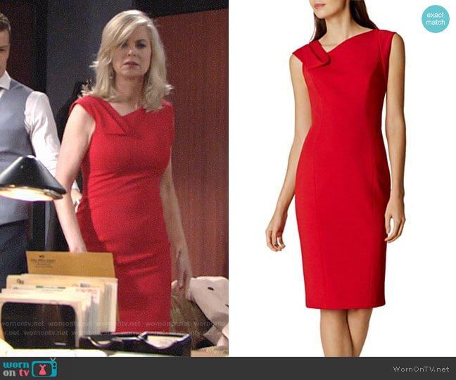 Karen Millen Fold Detail Pencil Dress worn by Eileen Davidson on The Young & the Restless