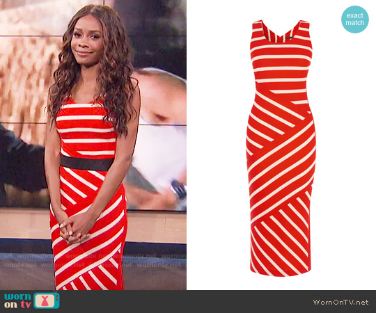 Karen Millen Wide Stripe Jersey Midi Dress worn by Zuri Hall (Zuri Hall) on E! News