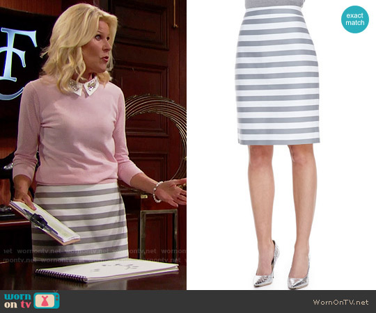 Kate Spade Marit Striped Skirt worn by Pamela Douglas on The Bold & the Beautiful