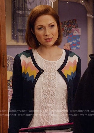 Kimmy's chevron striped cardigan on Unbreakable Kimmy Schmidt