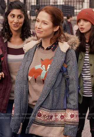 Kimmy's fox sweater and fur hood coat on Unbreakable Kimmy Schmidt