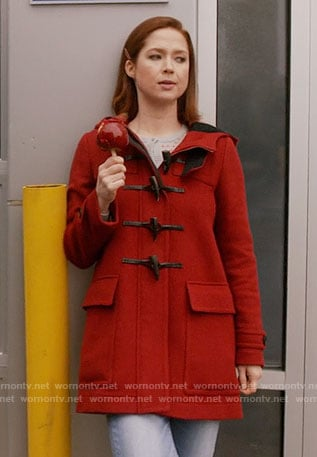 Kimmy's red duffle coat on Unbreakable Kimmy Schmidt