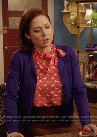 Kimmy's pink unicorn print top on Unbreakable Kimmy Schmidt