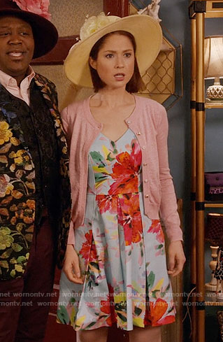 Kimmy's floral church dress and pink cardigan on Unbreakable Kimmy Schmidt