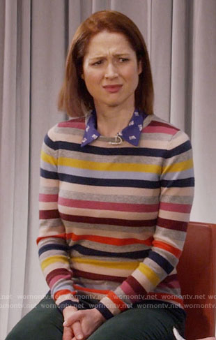Kimmy's multi colored striped sweater and pink boots on Unbreakable Kimmy Schmidt