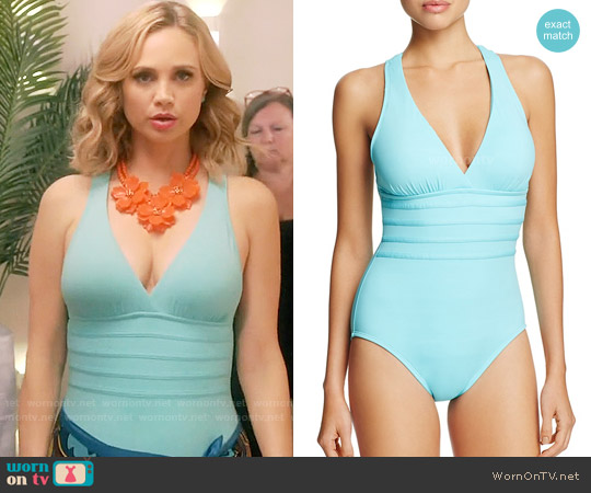 La Blanca Solid Multistrap Cross Back Maillot One Piece Swimsuit worn by Fiona Gubelmann on Daytime Divas