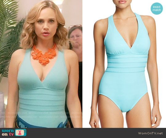 La Blanca Solid Multistrap Cross Back Maillot One Piece Swimsuit worn by Heather Flynn-Kellogg (Fiona Gubelmann) on Daytime Divas