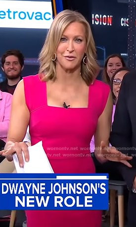 Lara's pink square neck dress on Good Morning America