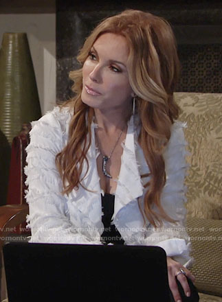 Lauren's white fringed jacket on The Young and the Restless