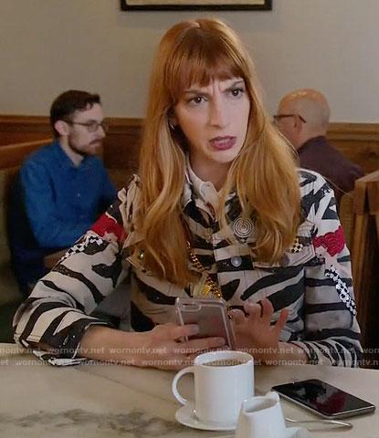Lauren's zebra print jacket on Younger