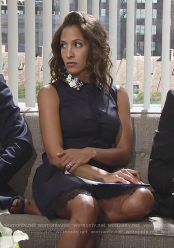 Lily's navy shirtdress with embellished collar on The Young and the Restless