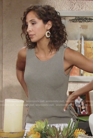 Lily's knit top with side ties on The Young and the Restless
