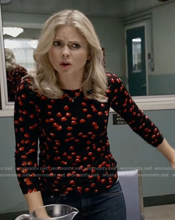 Liv's black  cherry print sweater on iZombie