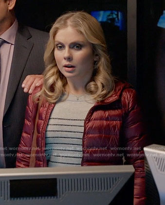 Liv's striped sweater and burgundy puffer jacket on iZombie