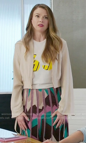 Liza's geometric print skirt and drawstring sleeve jacket on Younger