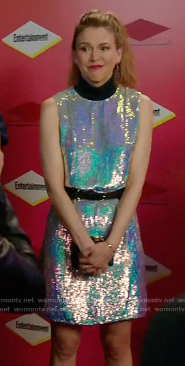Liza's silver sequin dress with black neck on Younger