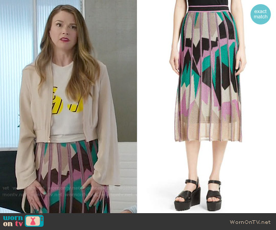 M Missoni Geometric Intarsia Midi Skirt worn by Sutton Foster on Younger