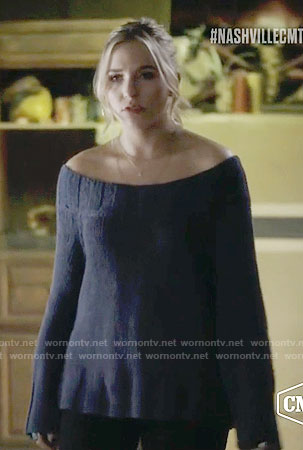 Maddie's blue off-shoulder sweater on Nashville