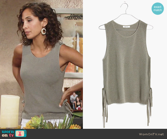 Madewell Side Tie Sweater Tank worn by Christel Khalil on The Young & the Restless
