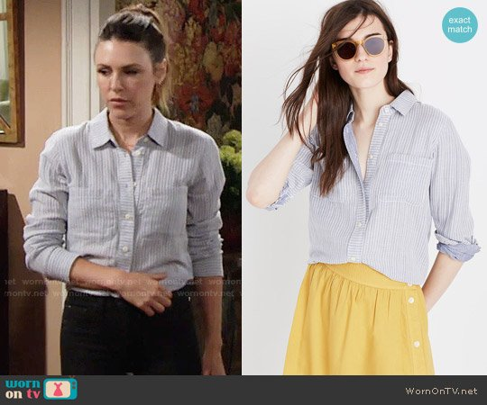 Madewell Striped Tie Back Shirt worn by Chloe Mitchell (Elizabeth Hendrickson) on The Young & the Restless