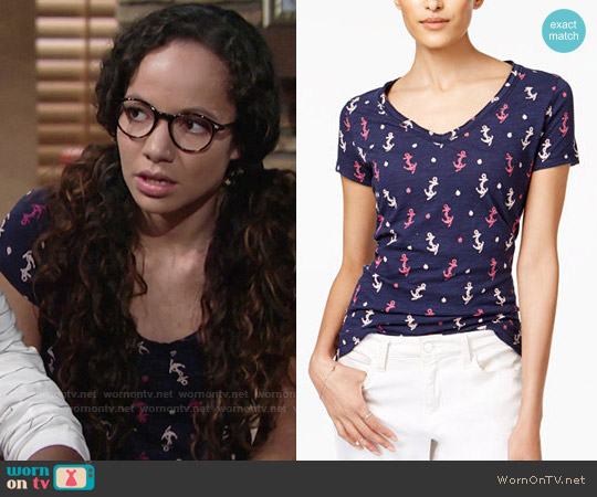 Maison Jules Cotton Anchor-Print T-Shirt worn by Lexie Stevenson on The Young & the Restless