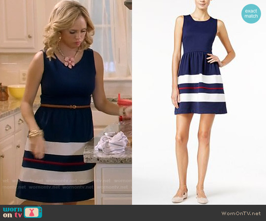 Maison Jules Striped Fit & Flare Dress worn by Fiona Gubelmann on Daytime Divas