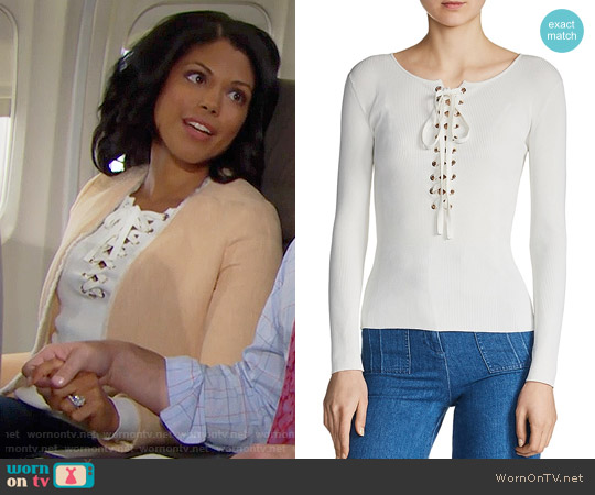 Maje Matana Lace-Up Sweater worn by Karla Mosley on The Bold & the Beautiful