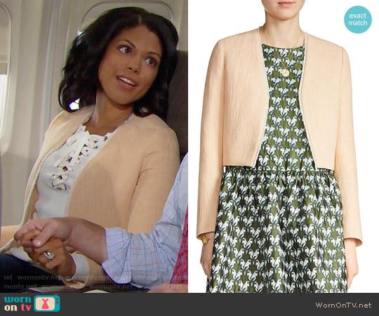 Maje Vikou Fringe-Trim Jacket worn by Maya Avant on The Bold & the Beautiful