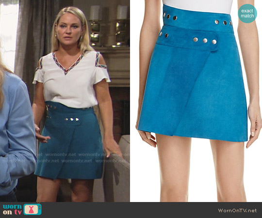 Maje Joseph Suede Wrap Skirt worn by Sharon Collins (Sharon Case) on The Young & the Restless