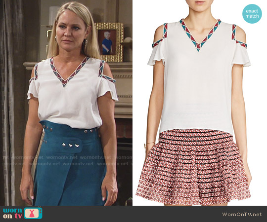 Maje Lisea Top worn by Sharon Collins (Sharon Case) on The Young & the Restless