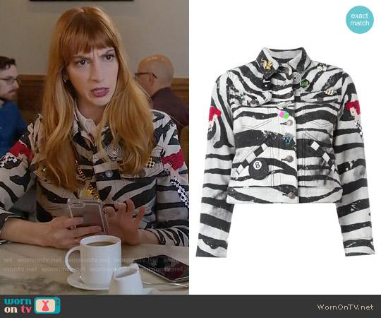 Marc Jacobs Zebra Print Shrunken Jacket worn by Molly Bernard on Younger