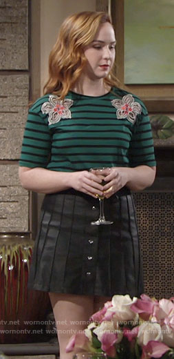 Mariah's green striped top and leather skirt on The Young and the Restless