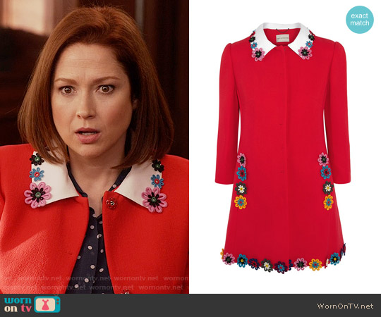 Mary Katrantzou Mason Coat worn by Ellie Kemper on Unbreakable Kimmy Schmidt