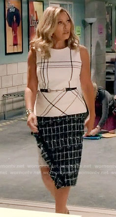 Maxine's plaid sleeveless top and checked skirt on Daytime Divas