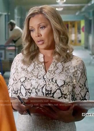 Maxine's snake print shirt on Daytime Divas