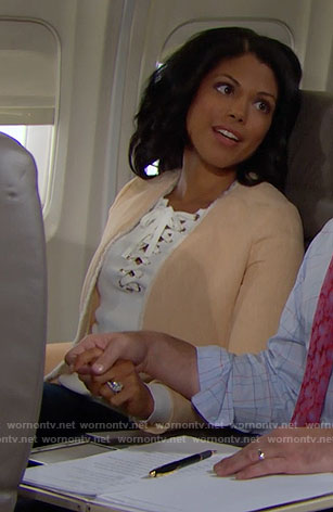 Maya's white lace-up sweater and peach jacket on The Bold and the Beautiful