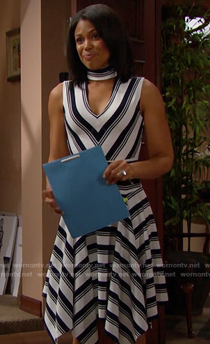 Maya's striped v-neck dress on The Bold and the Beautiful
