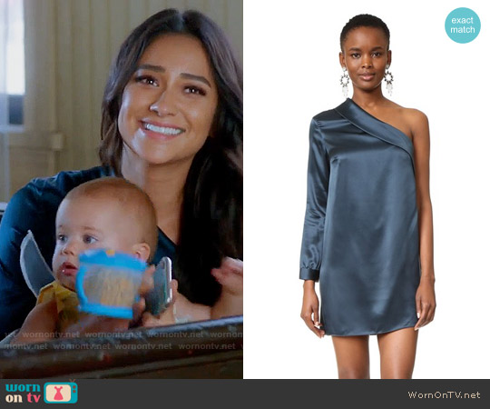 Michelle Mason Asymmetrical Lapel Shift Dress worn by Shay Mitchell on PLL