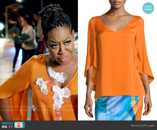Milly Butterfly-Sleeve V-Neck Blouse worn by Mo Evans (Tichina Arnold) on Daytime Divas