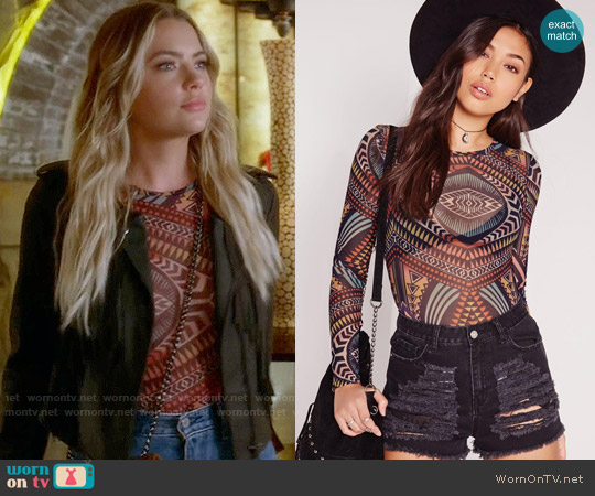 Missguided Tribal Print Mesh Long Sleeve Bodysuit worn by Ashley Benson on PLL