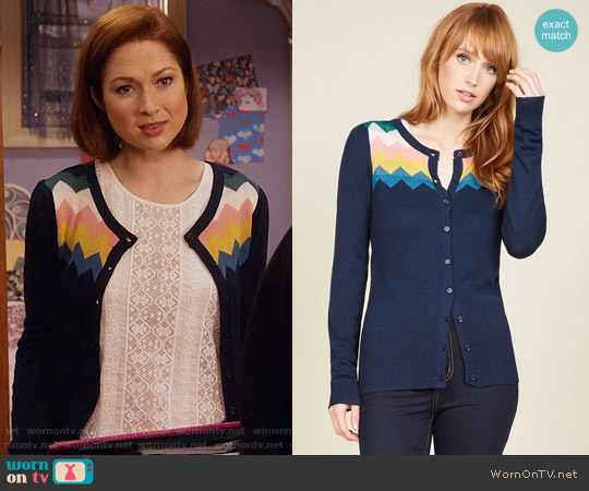 ModCloth You Heard That Bright Cardigan in Navy worn by Kimmy Schmidt (Ellie Kemper) on Unbreakable Kimmy Schmidt