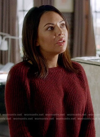 Mona's red ribbed sweater on Pretty Little Liars