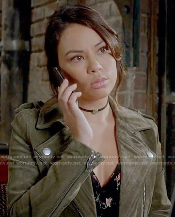 Mona's olive suede moto jacket on Pretty Little Liars