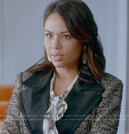 Mona's star print blouse and tweed jacket on Pretty Little Liars