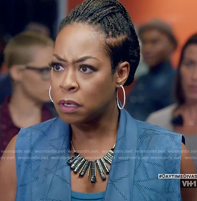 Mo's blue perforated leather vest on Daytime Divas