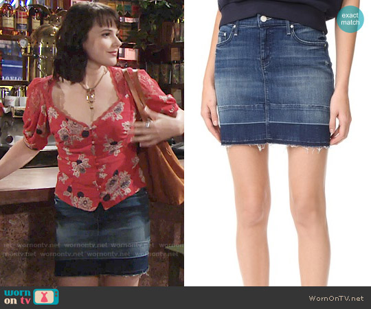 Mother Undone Hem Denim Skirt worn by Cait Fairbanks on The Young & the Restless