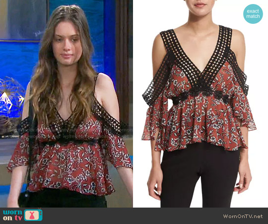 N/Nicholas Sicilian Floral Cold-Shoulder Top worn by Gabrielle Haugh on Days of our Lives
